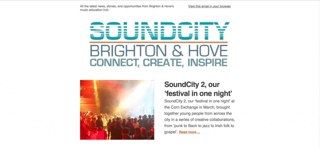 SoundCity Brighton enewsletter