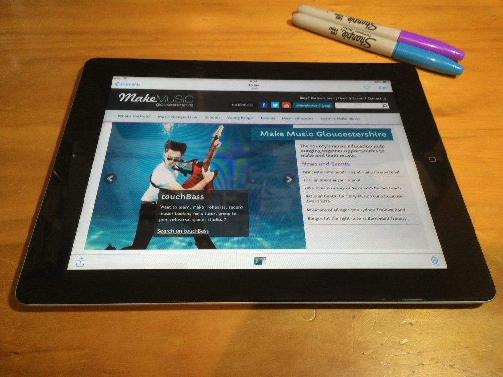 Music hub website on an ipad