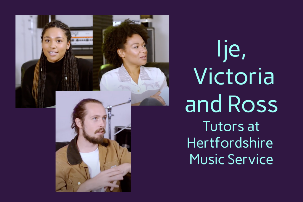 Ije, Victoria and Ross, tutors at Hertfordshire music service