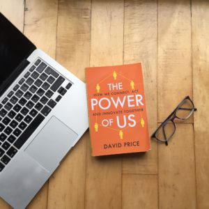 The Power of Us book image plus computer and glasses