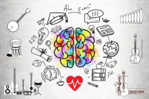 Drawing of brain with music and learning graphics around it